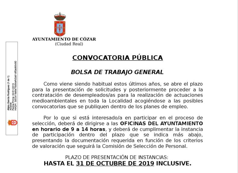 CONVOCATORIA PÚBLICA – BOLSA DE TRABAJO GENERAL